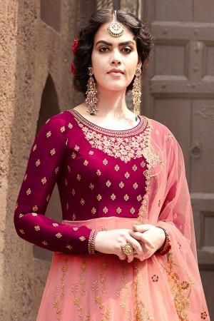 Rani Pink & Peach Faux Georgette Salwar Kameez