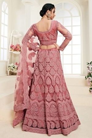 Dark Peach Net Lehenga Choli