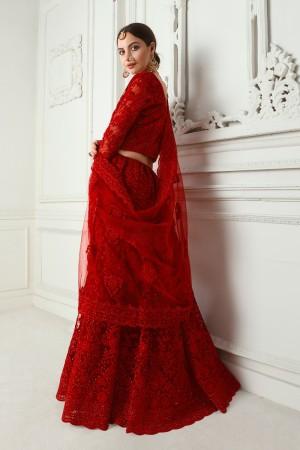 Red Net Lehenga Choli