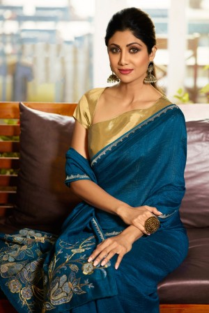 Blue Fancy  Saree with Blouse