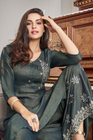 Grey Two Tone Slub Cotton Salwar Kameez