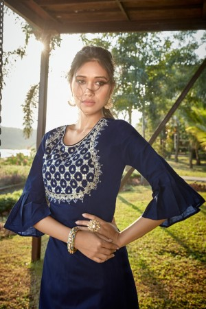 Navy Blue Cotton Silk Salwar Kameez