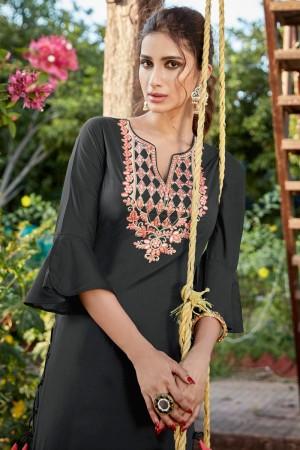 Black Cotton Silk Salwar Kameez