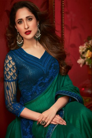 Green Bluecherry Silk Saree with Blouse