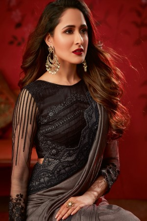 Charcoal Dola Silk Saree with Blouse
