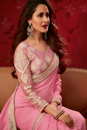 Baby Pink Bluecherry Silk Saree with Blouse