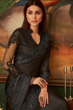 Black Modal Satin Saree with Blouse