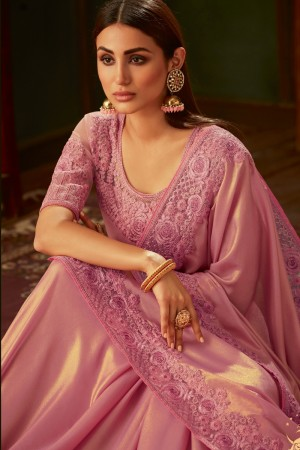 Baby Pink Georgette Shimmer Saree with Blouse
