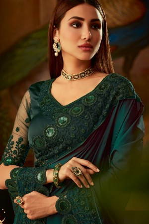 Bottle Green Two Tone Silk Saree with Blouse