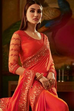Orange Two Tone Silk Saree with Blouse