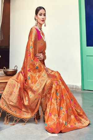 Mustard Banarasi Silk Saree with Blouse