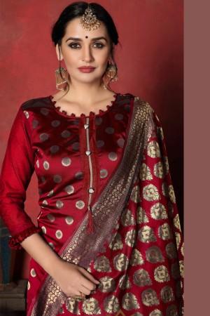Maroon Banarasi Silk Salwar Kameez