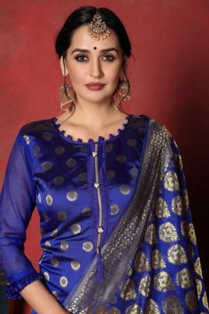 Blue Banarasi Silk Salwar Kameez
