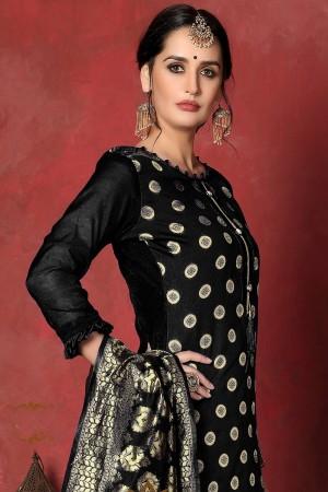 Black Banarasi Silk Salwar Kameez
