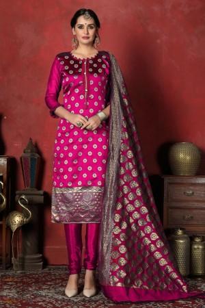 Rani Pink Banarasi Silk Salwar Kameez