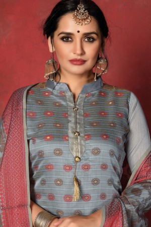 Grey Banarasi Silk Salwar Kameez