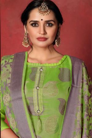Parrot Green Banarasi Silk Salwar Kameez