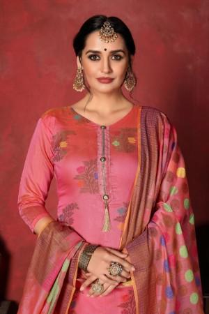 Pink Banarasi Silk Salwar Kameez