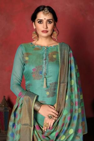 Mint Banarasi Silk Salwar Kameez