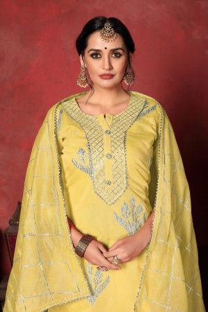 Lemon Yellow Modal Cotton Salwar Kameez