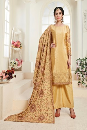 Yellow Chinon Salwar Kameez