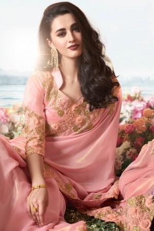 Peach Satin Fancy Fabric Saree with Blouse