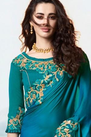 Aqua Blue Satin Fancy Fabric Saree with Blouse