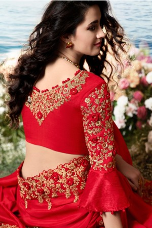 Red Satin Fancy Fabric Saree with Blouse