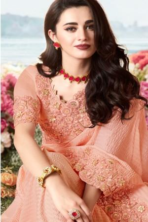 Light Orange Satin Fancy Fabric Saree with Blouse