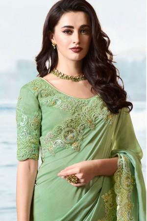 Light Green Satin Fancy Fabric Saree with Blouse