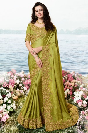 Mehendi Satin Fancy Fabric Saree with Blouse