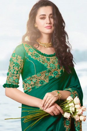 Green Satin Fancy Fabric Saree with Blouse