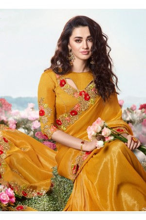 Yellow Satin Fancy Fabric Saree with Blouse