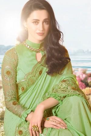 Pista Satin Fancy Fabric Saree with Blouse