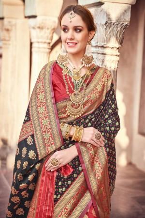 Black & Red Lichi Silk Saree with Blouse