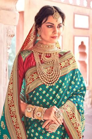 Rama & Red Lichi Silk Saree with Blouse