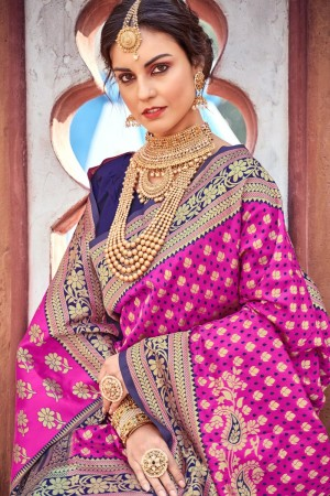 Pink & Blue Lichi Silk Saree with Blouse