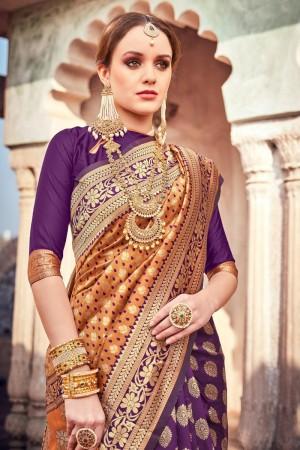 Mustard & Purple Lichi Silk Saree with Blouse