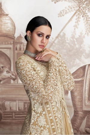 Cream Georgette & Net Salwar Kameez