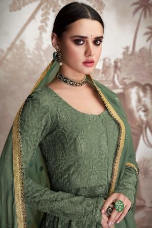 Olive Georgette & Net Salwar Kameez