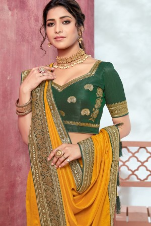 Mustard Chinnon Georgette Saree with Blouse