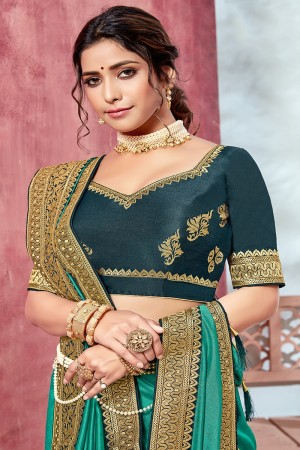 SeaGreen Chinnon Georgette Saree with Blouse