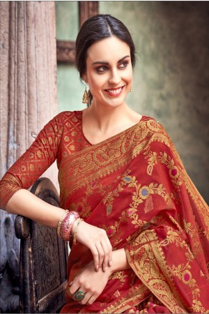 Maroon Cotton Jacquard Saree with Blouse