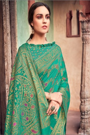 Mint Cotton Jacquard Saree with Blouse