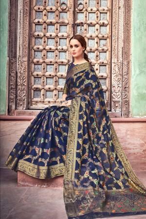 Blue Cotton Jacquard Saree with Blouse