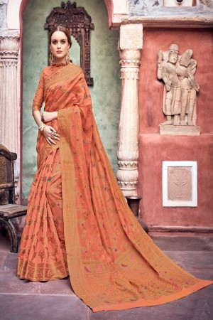 Orange Cotton Jacquard Saree with Blouse