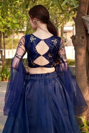 Blue Tissue Lehenga Choli