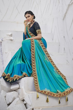 Firozi Satin Georgette Saree with Blouse
