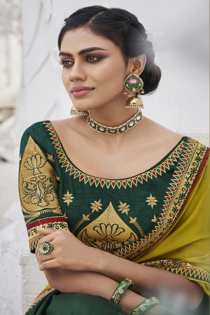 Lime&DarkGreen Satin Georgette Saree with Blouse