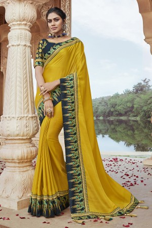 Yellow Satin Georgette Saree with Blouse